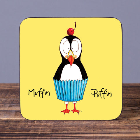 Muffin Puffin - Set of 6 Cork Coasters