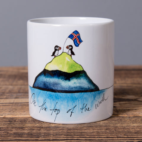 On The Top Of The World - Small Ceramic Mug - White - Idontspeakicelandic
