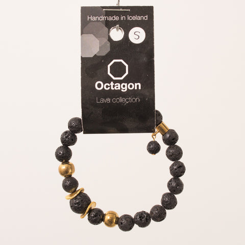 Octagon Lava Collection Bracelet - Bracelet Black/Gold big beads