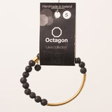 Octagon Lava Collection Bracelet - Bracelet Black/Gold small beads