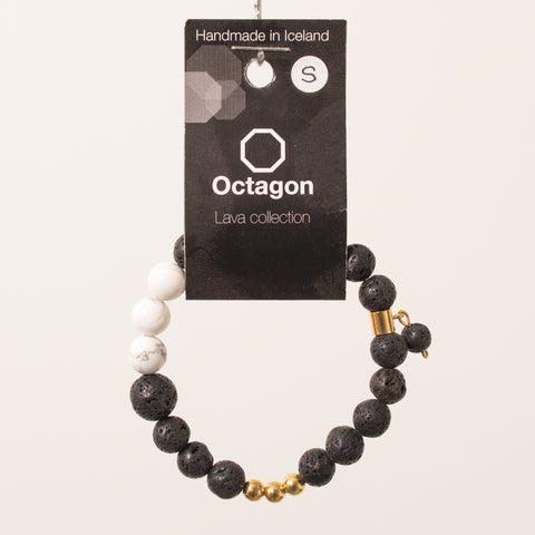 Octagon Lava Collection Bracelet - Bracelet Black/Gold/White big beads