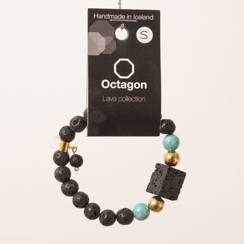 Octagon Lava Collection Bracelet - Bracelet Black/Gold/Turkish blue box lava