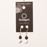 Octagon Lava Collection Earring - Black/Marble