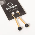Octagon Lava Collection Earring - Gold rod/Black Small Bead