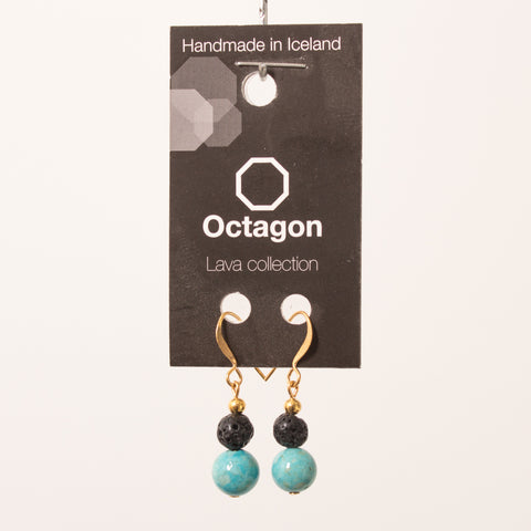 Octagon Lava Collection Earrings - Black/Turkish blue Beads