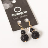 Octagon Lava Collection Earrings - Black Beads