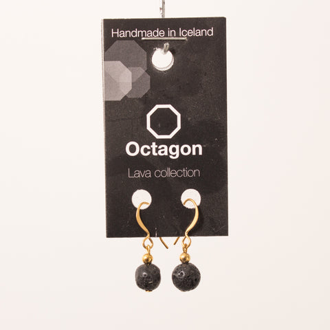 Octagon Lava Collection Earrings - Black small Bead