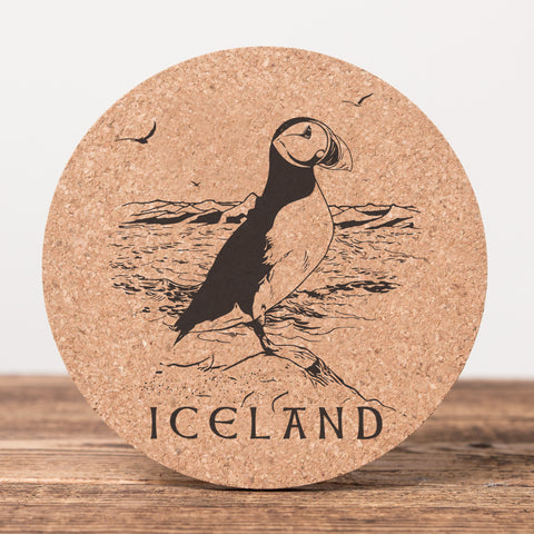 Puffin Iceland - Set of 6 Cork Coasters