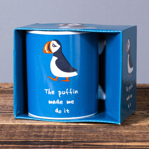 Puffin Made Me Do It - Mug in a Box - Blue