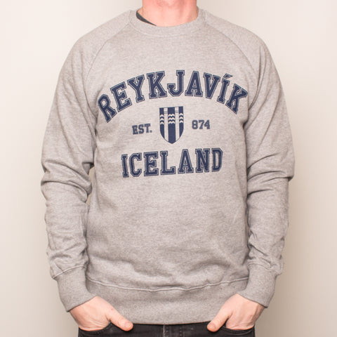 Unisex Raglan Sweatshirt - Reykjavik College  - Light Heather - Idontspeakicelandic