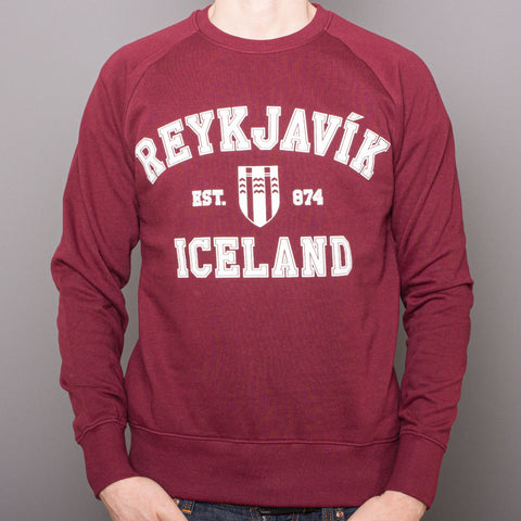 <transcy>Sweat-shirt unisexe raglan - Reykjavik College - Bourgogne</transcy>