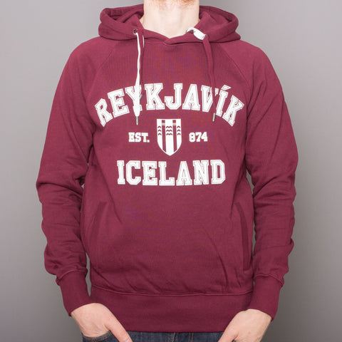 <transcy>Sweat à capuche unisexe - Reykjavik College - Claret Red</transcy>