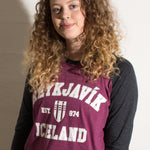 Reykjavik College - Baseball Shirt - Dark gray and Plum - Idontspeakicelandic