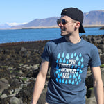 Mér Finnst Rigingin Góð (Translation: I Like The Rain) - T-Shirt - Denim Blue