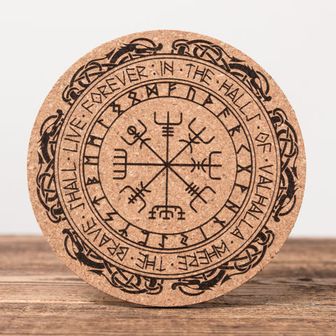 Rune Forvever in Valhalla - Set of 6 Round Cork Coasters