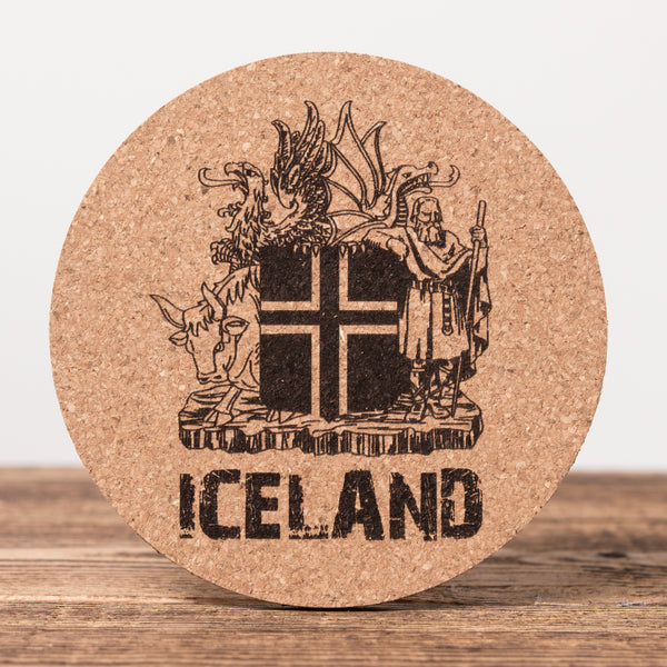 Iceland Coat of Arms - Round Cork Coaster