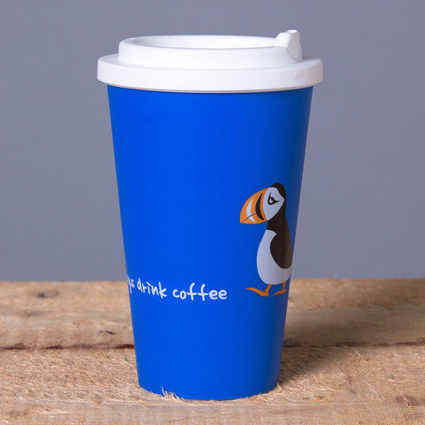 Puffin Says Drink Coffee - Travel Mug - Blue - Idontspeakicelandic
