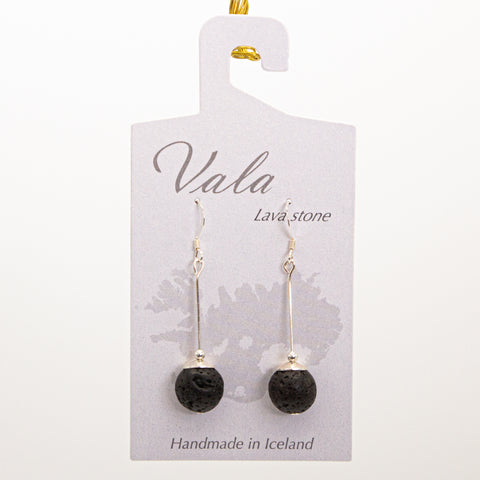 Vala Lava Stone Earrings - Black/gold rod