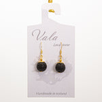 Vala Lava Stone Earrings - Black Big Bead