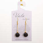 Vala Lava Stone Earrings - Black/Gold Rod Big Bead