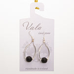 Vala Lava Stone Earrings - Black/Silver Rod small Bead