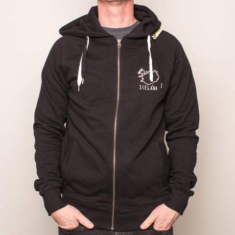 Unisex Zip-Up Hoody - Iceland - Black