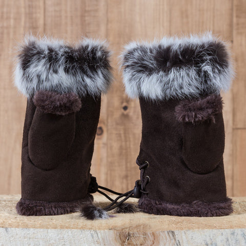 Arctic Fur Shortgloves - Ladies - Dark Brown