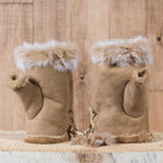 Arctic Fur Shortgloves - Ladies - Light Brown
