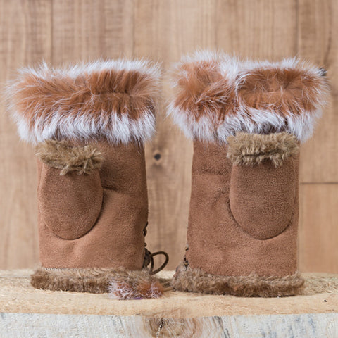 Arctic Fur Shortgloves - Ladies - Brown