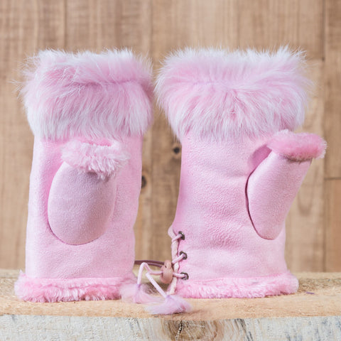 Arctic Fur Shortgloves - Ladies - Pink