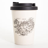Old Iceland - Bamboo Travel Mug - With non-slip sleeve - White - Idontspeakicelandic