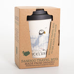 Puffin Iceland - Bamboo Travel Mug - With non-slip sleeve - White - Idontspeakicelandic