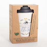 Adventurer Iceland - Bamboo Travel Mug - With non-slip sleeve - White - Idontspeakicelandic