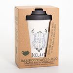 Viking Iceland - Bamboo Travel Mug - With non-slip sleeve - White - Idontspeakicelandic