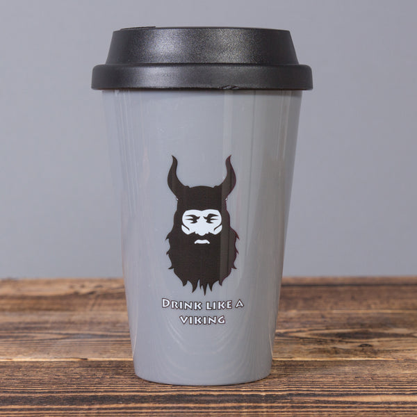 Drink Like a Viking - Travel Mug - Gray