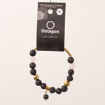 Octagon Lava Collection Bracelet - Bracelet Black/Gold/White big beads gold rod