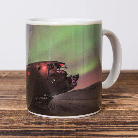 Northern Lights / Plane Wreck - Heat Change Mug - White
