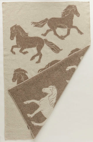 Jaquard Horse - Icelandic Wool Blanket from Istex - Beige/White
