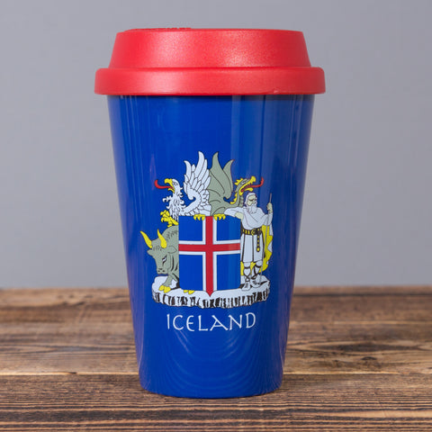 Icelandic Coat of Arms - Travel Mug - Blue