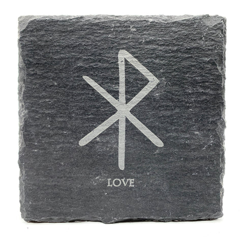 Love - Viking Rune - Slate Coaster