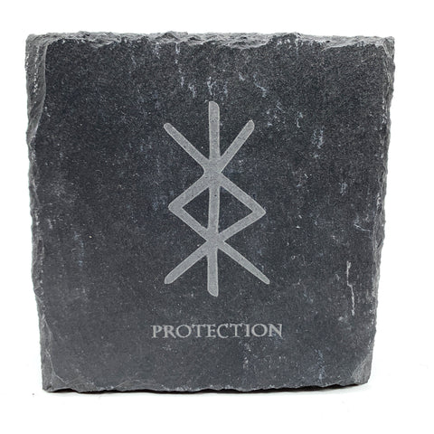 Protection - Viking Rune - Slate Coaster