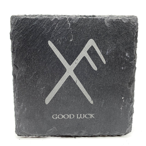 Good Luck - Viking Rune - Slate Coaster