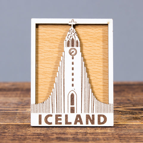 Hallgrimskirkja Church Square - Laser Cut Layered Magnet
