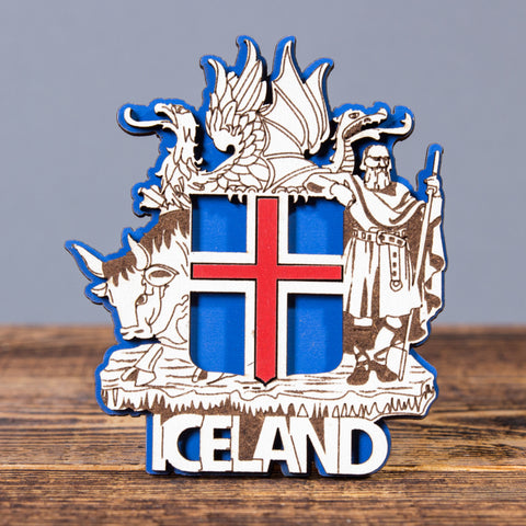 The Icelandic Coat of Arms - Laser Cut Layered Magnet - Idontspeakicelandic