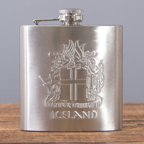 Icelandic Coat of Arms - Hip Flask - Idontspeakicelandic