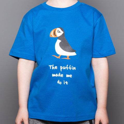 Puffin Made Me Do It - Kid's T-Shirt - Blue - Idontspeakicelandic