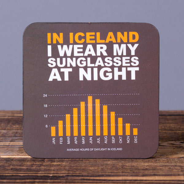 In Iceland i Wear My Sunglasses at Night - Cork Coaster
