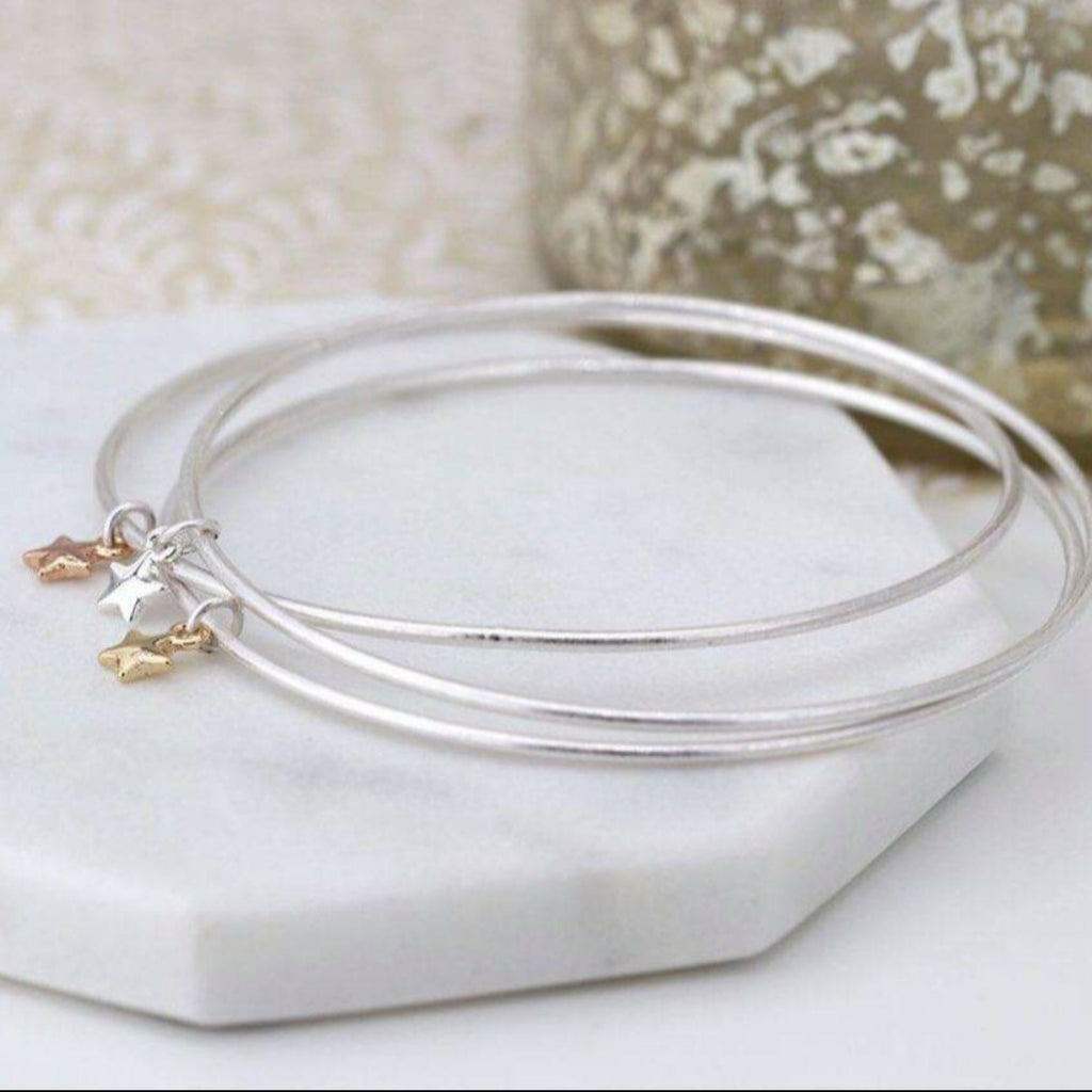 Bangle 3 seren lliw arian, lliw aur a lliw rose gold