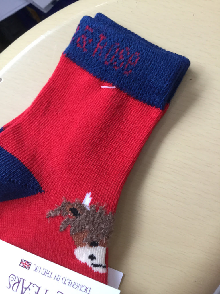 Blade and rose socks highland cow