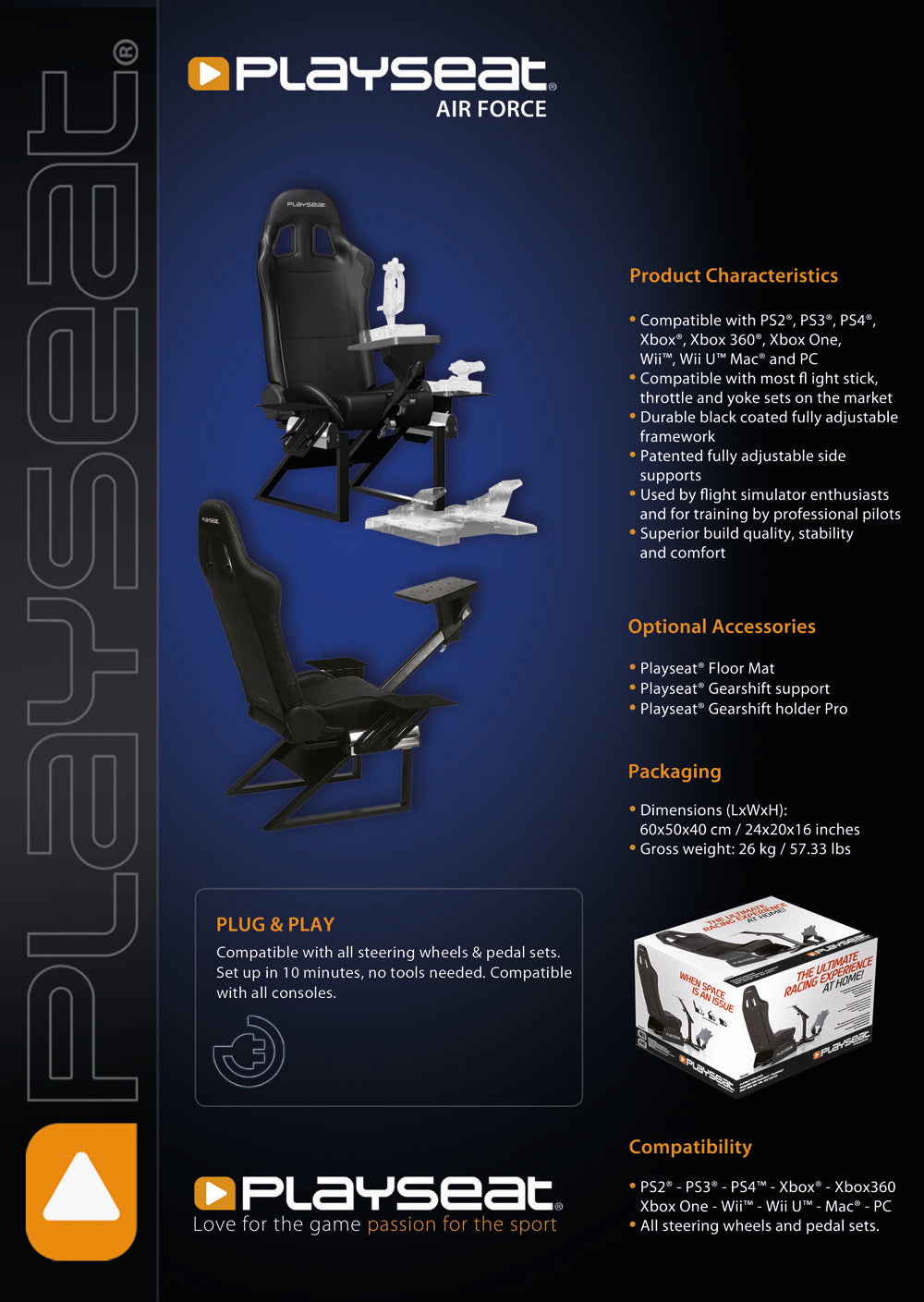 Playseat air force flight simulator chair champs chairs the playseat air force seat takes gamers to new levsls featuring a dynamic fighter plane cockpit style design this aggressive yet sophisticated nvjuhfo Images
